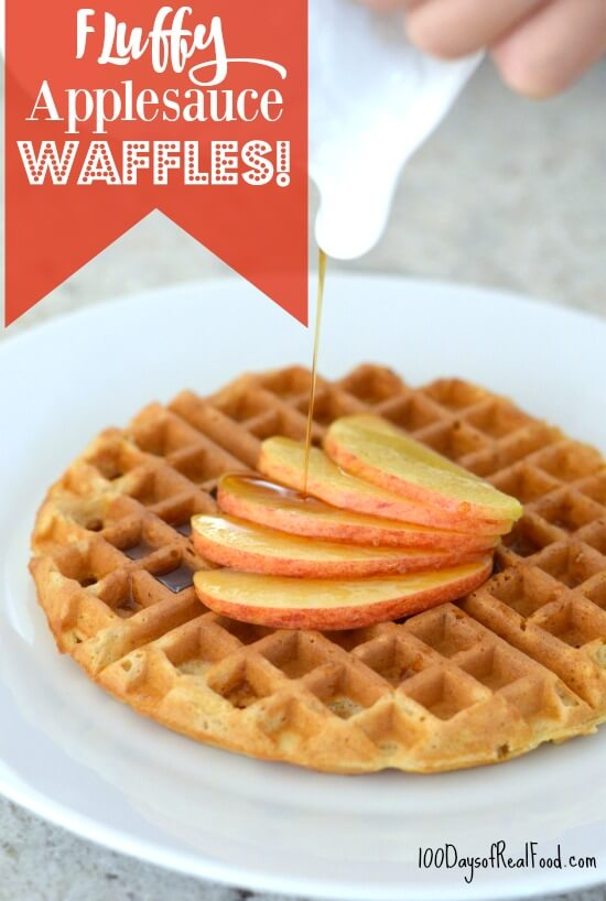 Fluffy Applesauce Waffle Recipe on 100 Days of #RealFood