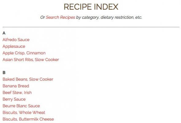 Recipe Index on 100 Days of #RealFood