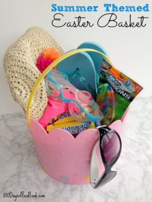 Summer themed Easter basket on 100 Days of #RealFood
