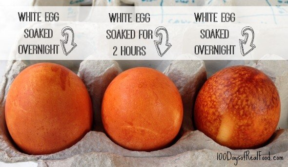How to dye eggs naturally orange on 100 Days of #RealFood