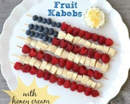 Patriotic Fruit Kabobs with Honey Cream Dip