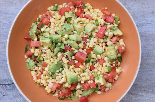 Charred Corn Salad with Tomatoes and Avocados on 100 Days of #RealFood