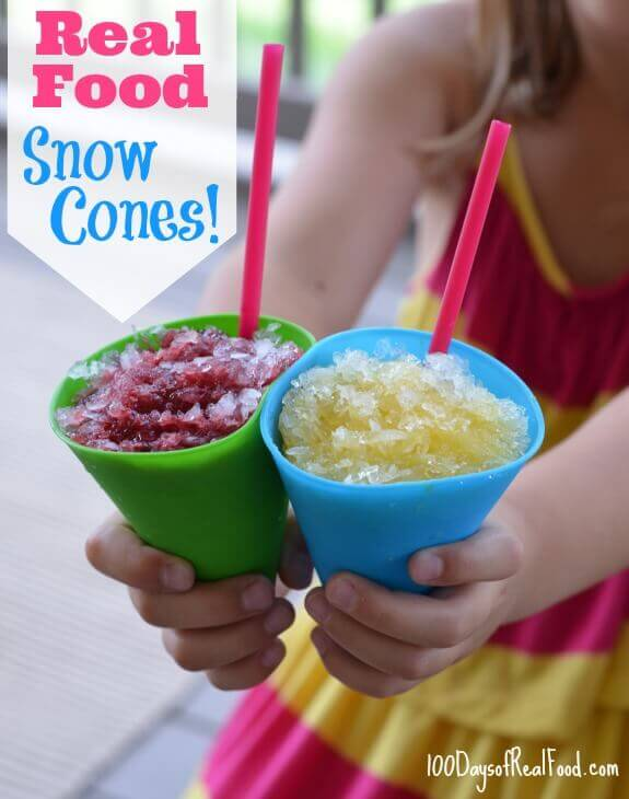 4th of July Recipe Roundup (Snow Cones) on 100 Days of #RealFood