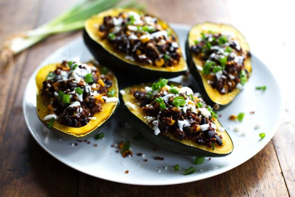 Roasted Corn and Quinoa Stuffed Squash on 100 Days of #RealFood