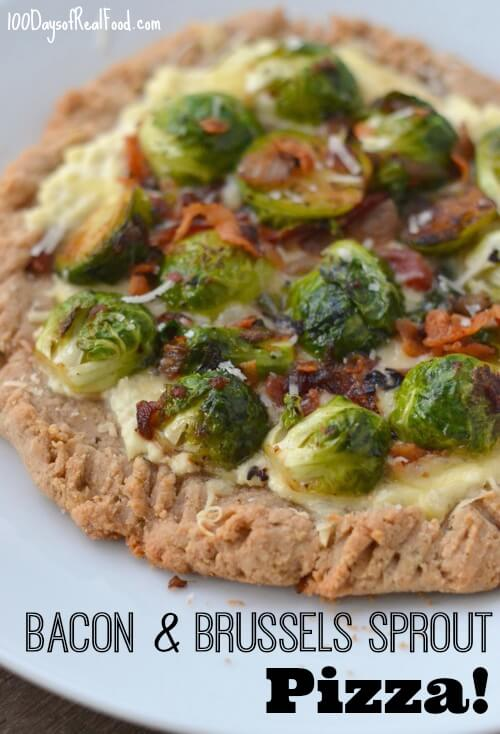 Bacon and Brussels Sprouts Pizza on 100 Days of #RealFood