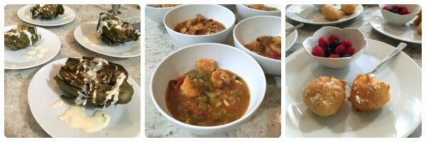 Dinner Club artichoke, gumbo, and beignets on 100 Days of #RealFood