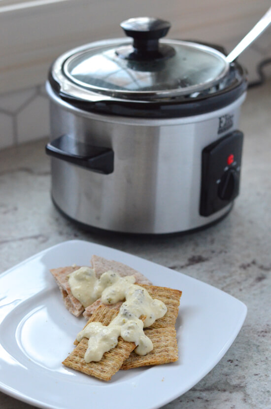 Cheesy Broccoli Dip in mini slow cooker on 100 Days of #RealFood