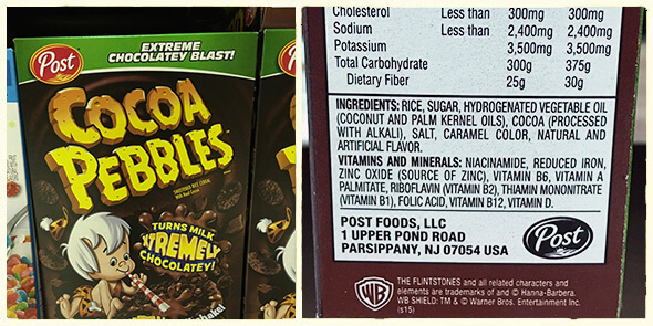 What's in your cereal on 100 Days of Real Food - cocoa pebbles