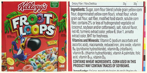 What's in your cereal on 100 Days of Real Food - froot loops