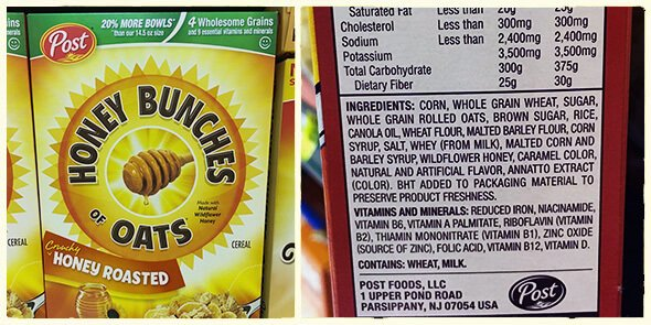What's in your cereal on 100 Days of Real Food - Honey Bunches of Oats