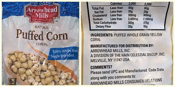 What's in your cereal on 100 Days of Real Food - Puffed Corn