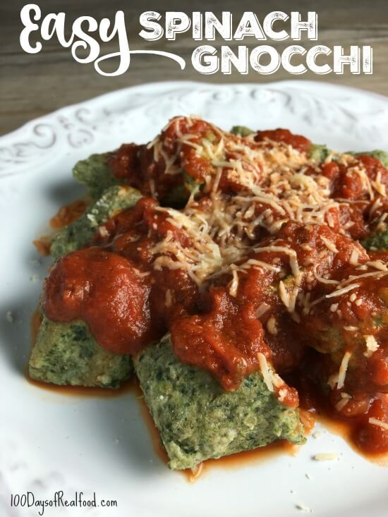 Easy Spinach Gnocchi Recipe on 100 Days of Real Food