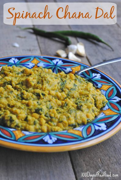 Spinach Chana Dal: An Indian Recipe with Lentils on 100 Days of Real Food
