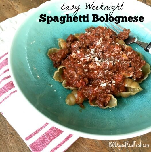 Easy Weeknight Spaghetti Bolognese on 100 Days of Real Food