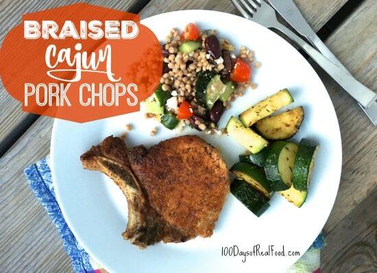Braised Cajun Pork Chops on 100 Days of Real Food #braisedporkchops