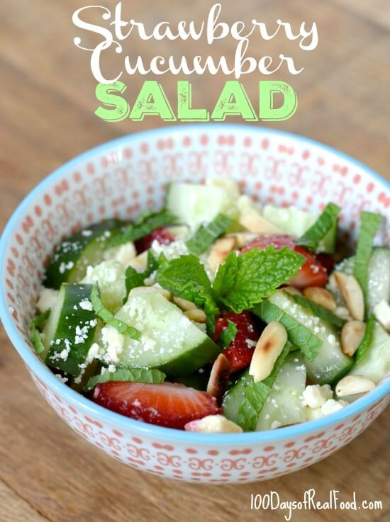 Strawberry Cucumber Salad on 100 Days of Real Food