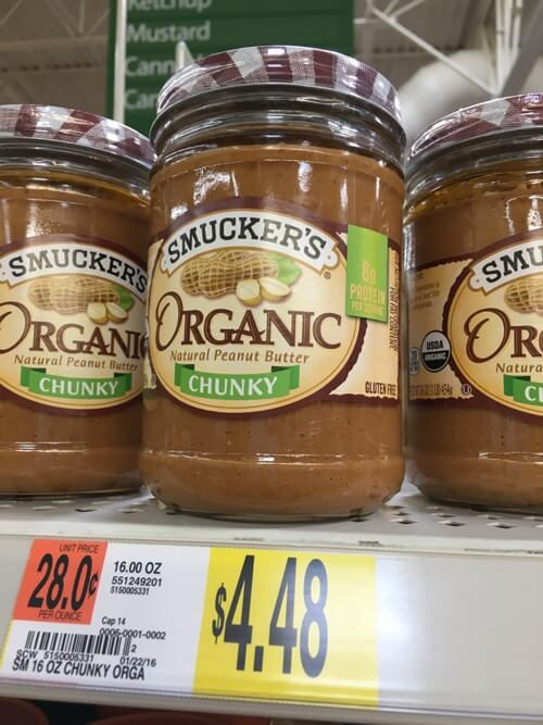 organic peanut butter at Walmart on 100 Days of Real Food