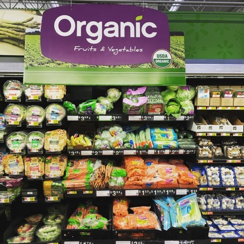 organic fruits and vegetables at Walmart on 100 Days of Real Food