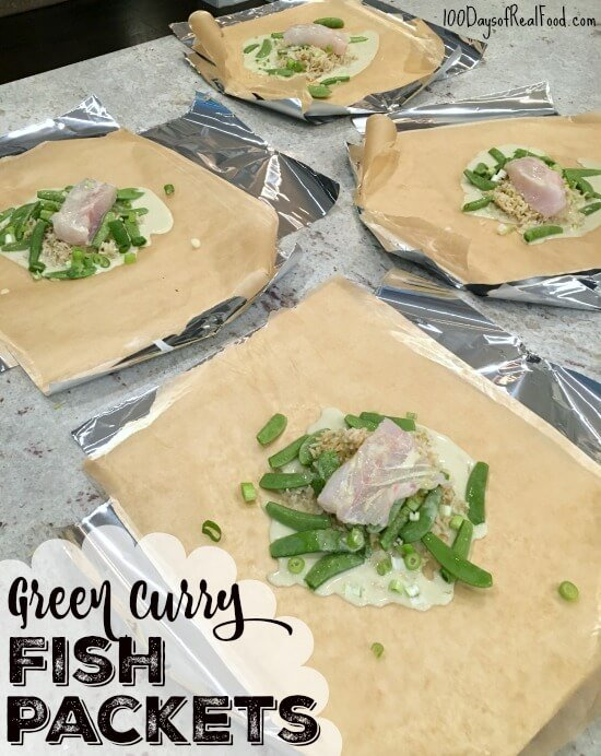 Green Curry Fish Packets on 100 Days of Real Food