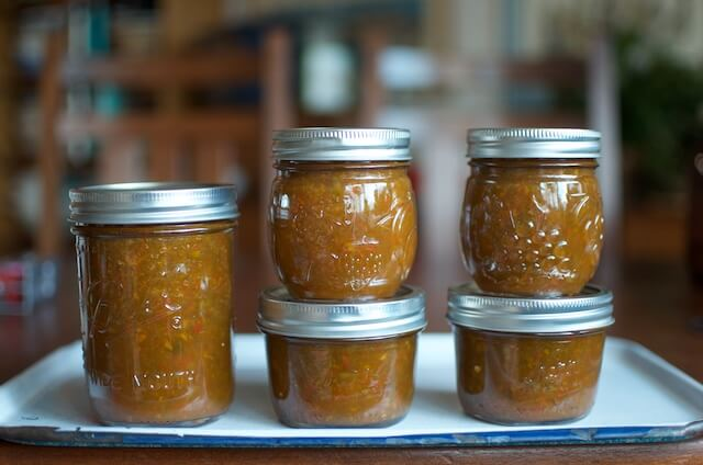 Honey Sweetened Pepper Jam from Naturally Sweet Food in Jars on 100 Days of Real Food