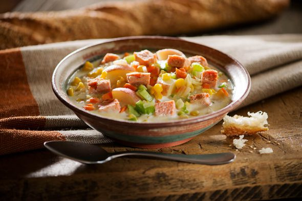 Salmon Chowder - Easy Salmon Recipe Contest + Giveaway on 100 Days of Real Food