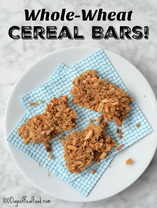 Homemade Whole Wheat Cereal Bars on 100 Days of Real Food