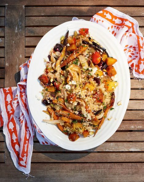 Quinoa salad with roasted vegetables on 100 Days of Real Food