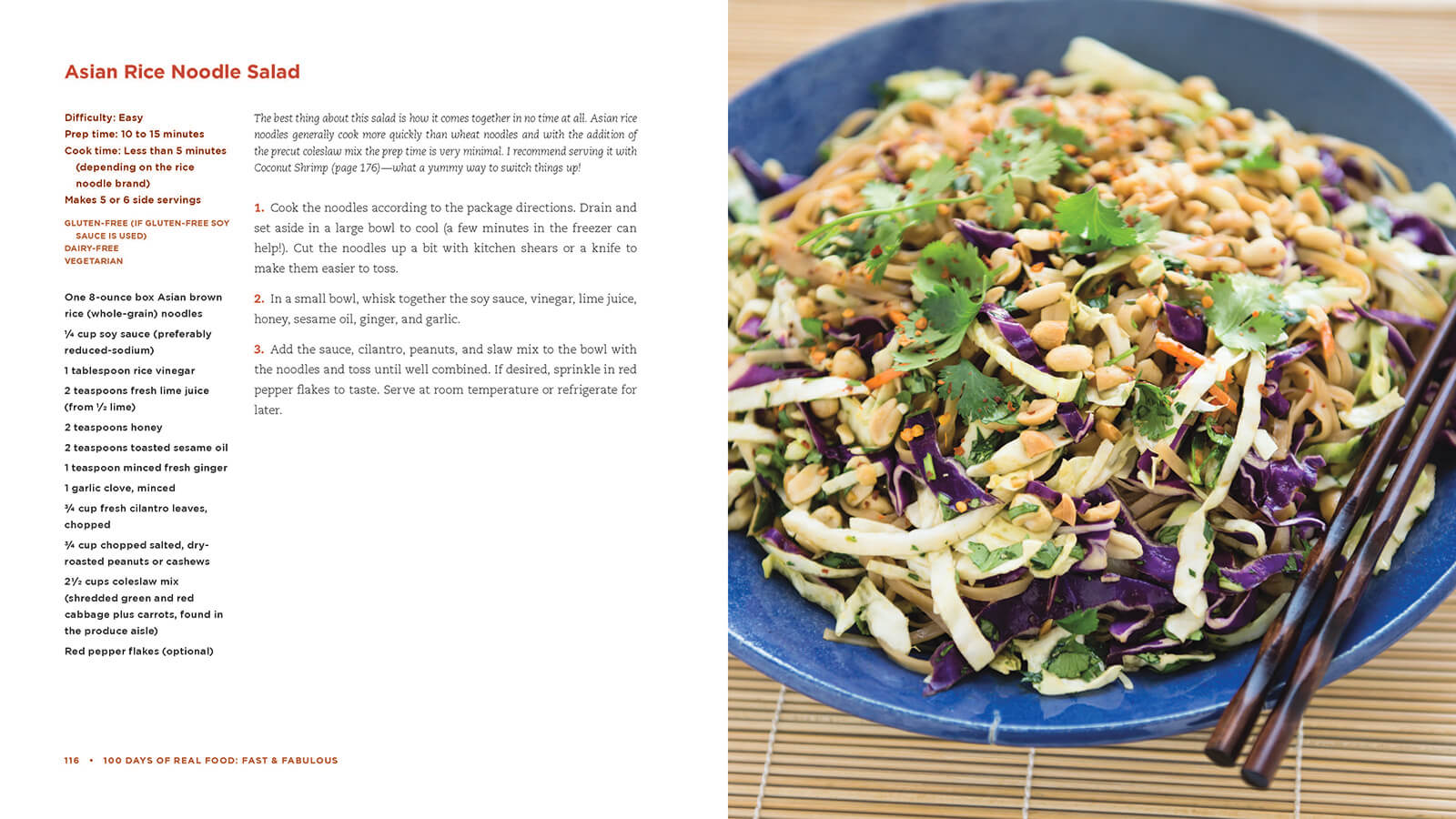 100 Days of Real Food new cookbook recipe: Asian Rice Noodle Salad