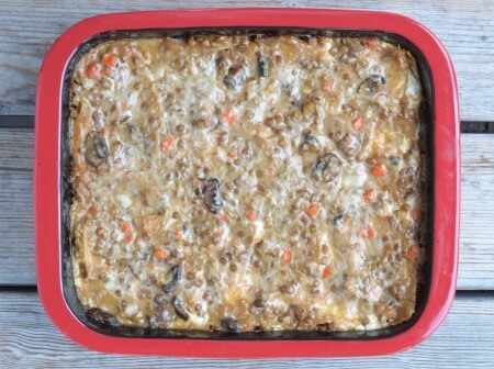 Creamy Lentil Lasagna in Ceramcor Bakeware on 100 Days of Real Food