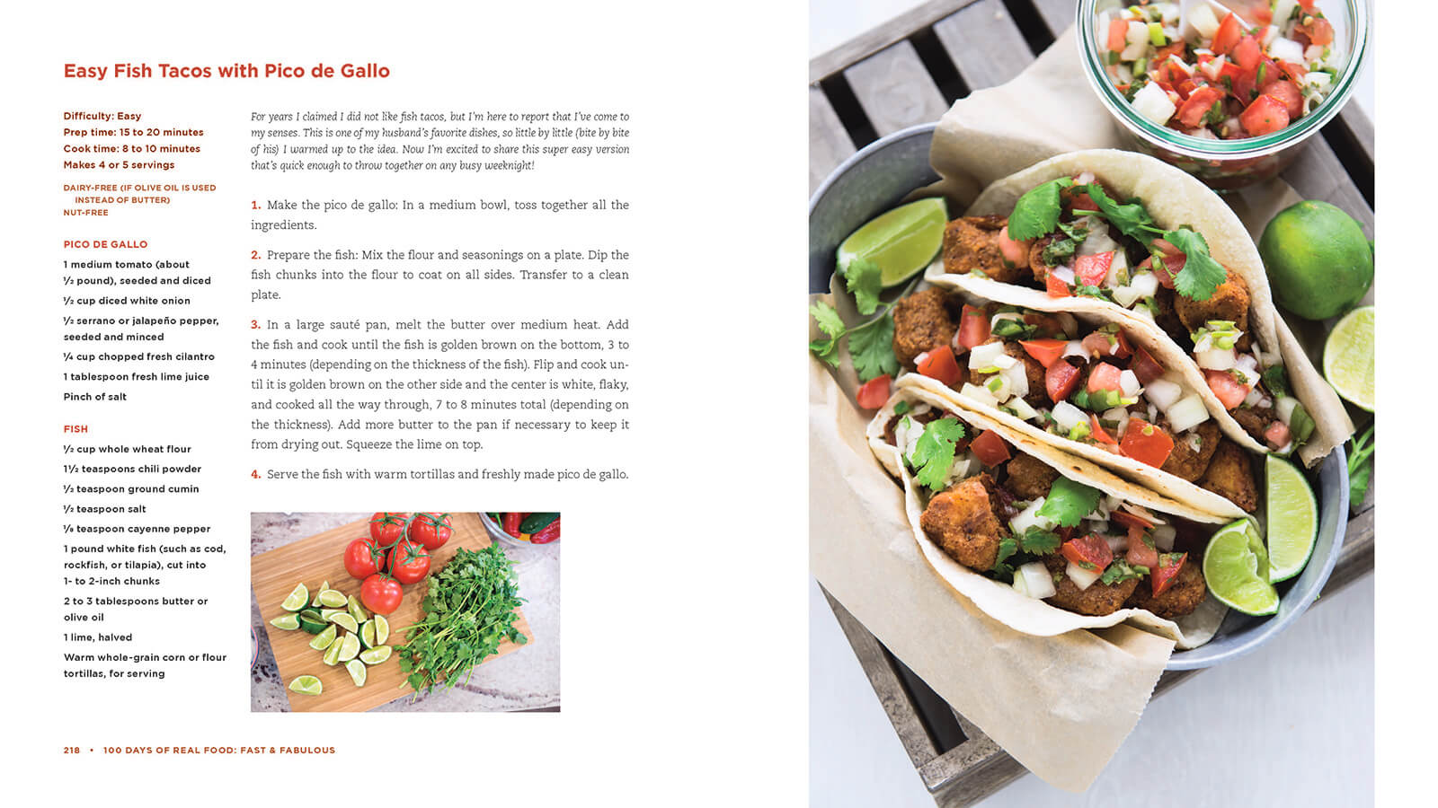 100 Days of Real Food new cookbook recipe: Easy Fish Tacos with Pico de Gallo