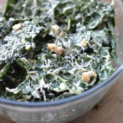 Holiday Pot Luck Ideas on 100 Days of Real Food - Creamy Kale Caesar Salad