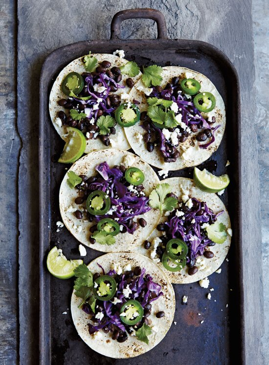 Slow Cooker Black Bean Tacos from Skinnytaste Fast and Slow cookbook on 100 Days of Real Food