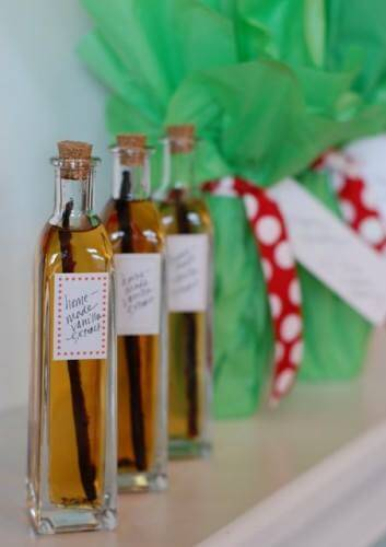 Homemade Vanilla Extract on 100 Days of Real Food - bottles with labels