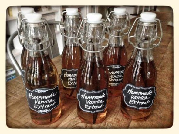 vanilla extract on 100 days of real food bottles with chalkboard labels