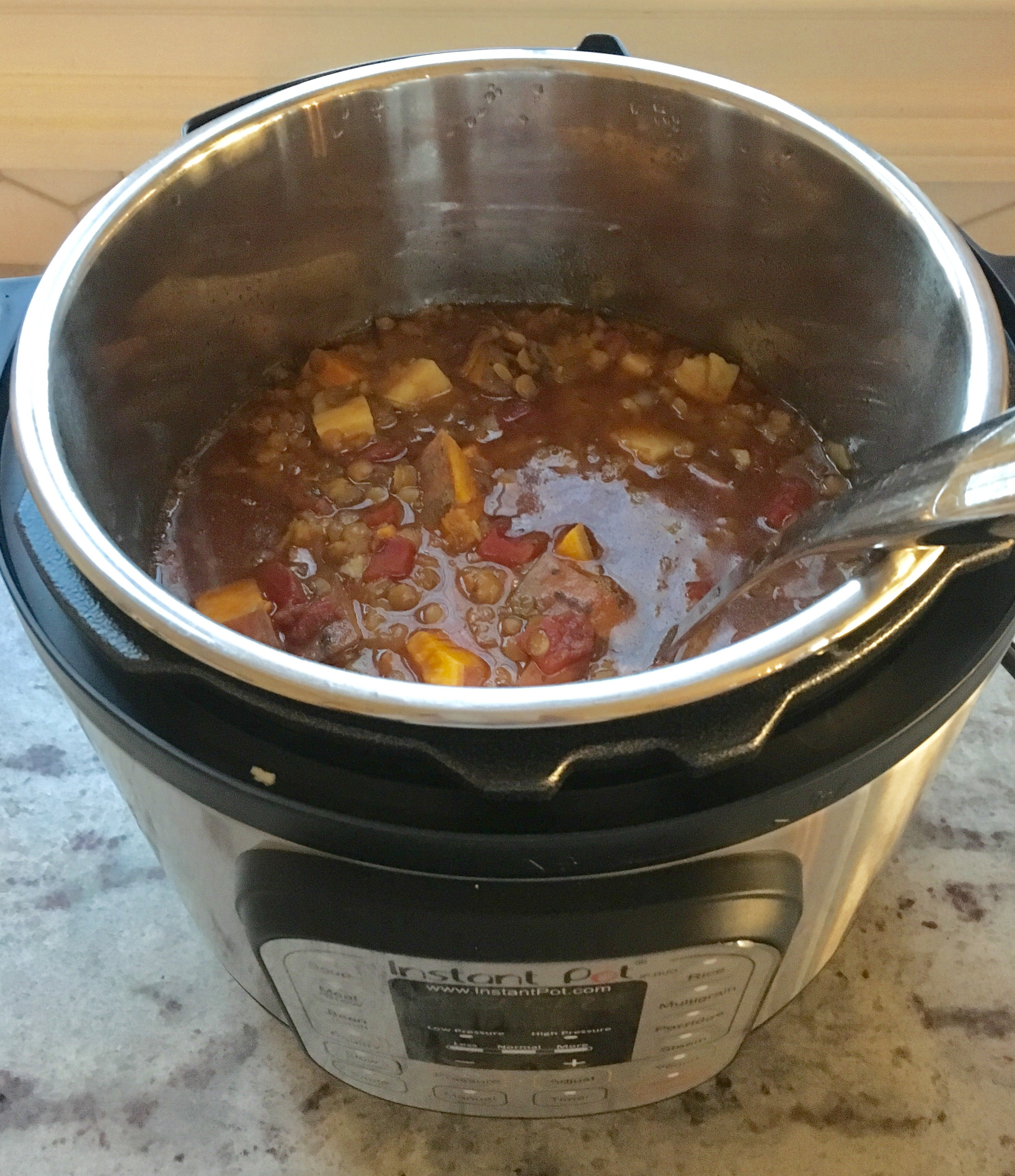 Instant Pot Curried Lentil & Sweet Potato Stew on 100 Days of Real Food