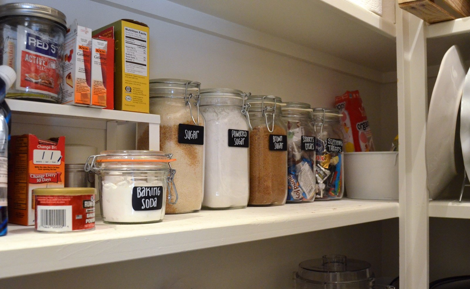 "Big Pantry Redo ""after"" baking supplies on 100 Days of Real Food"