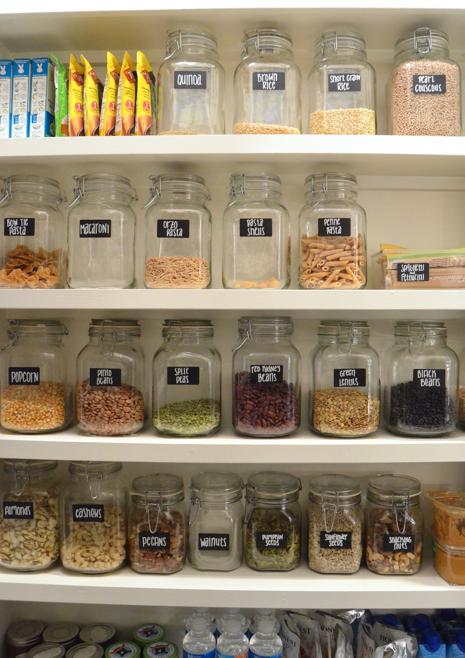 "Big Pantry Redo ""after"" jars on 100 Days of Real Food"