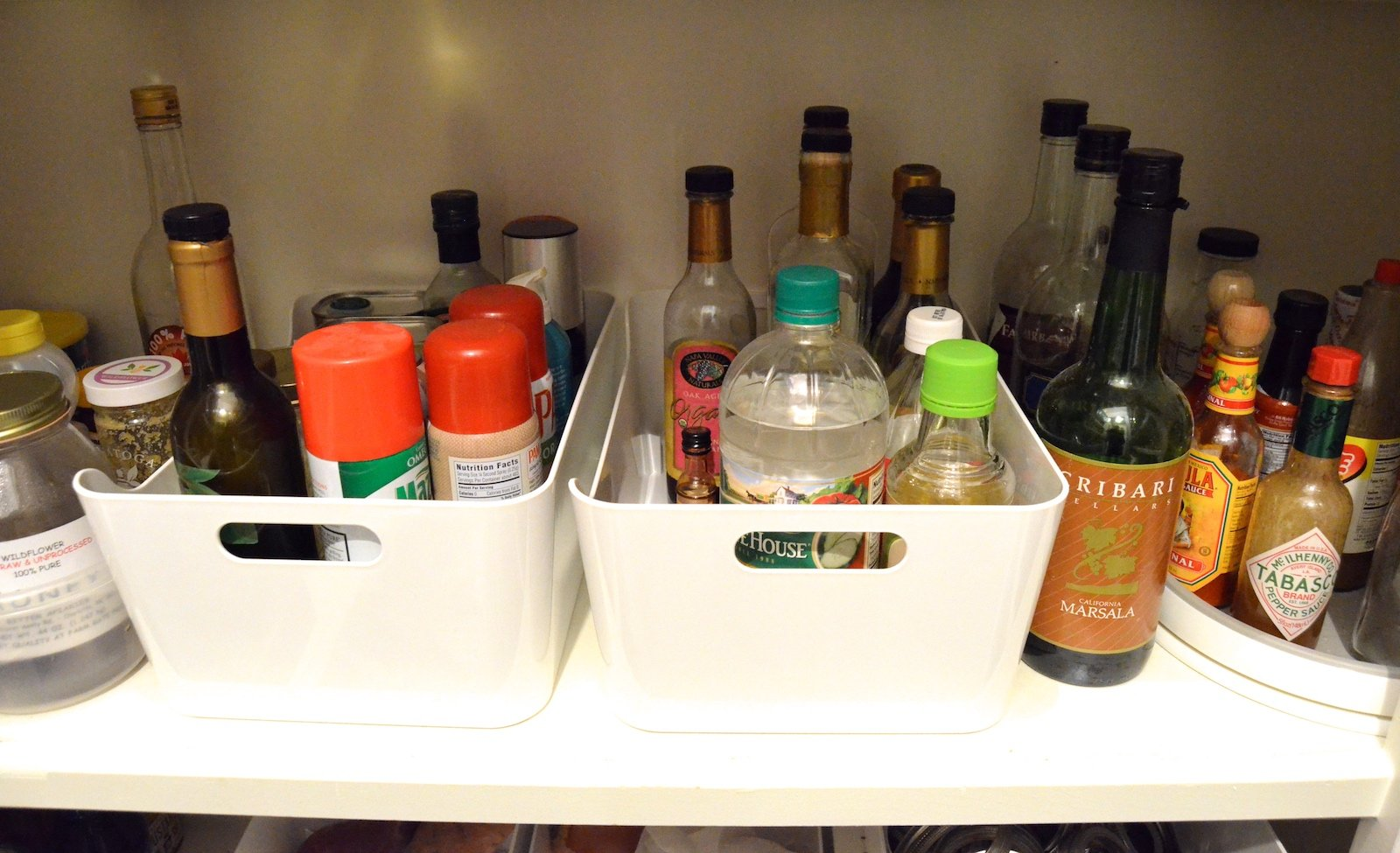 """Big Pantry Redo """"after"""" oils and vinegars on 100 Days of Real Food"""