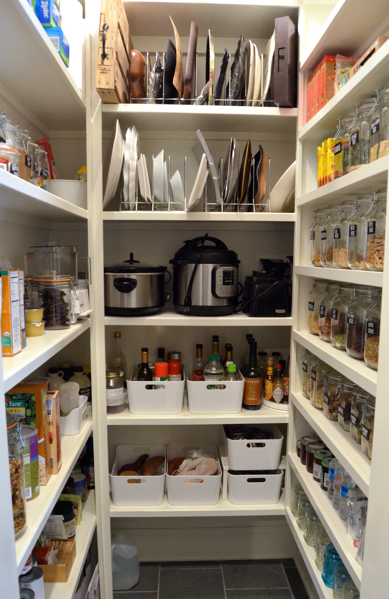 "Big Pantry Redo ""after"" bins and racks on 100 Days of Real Food"