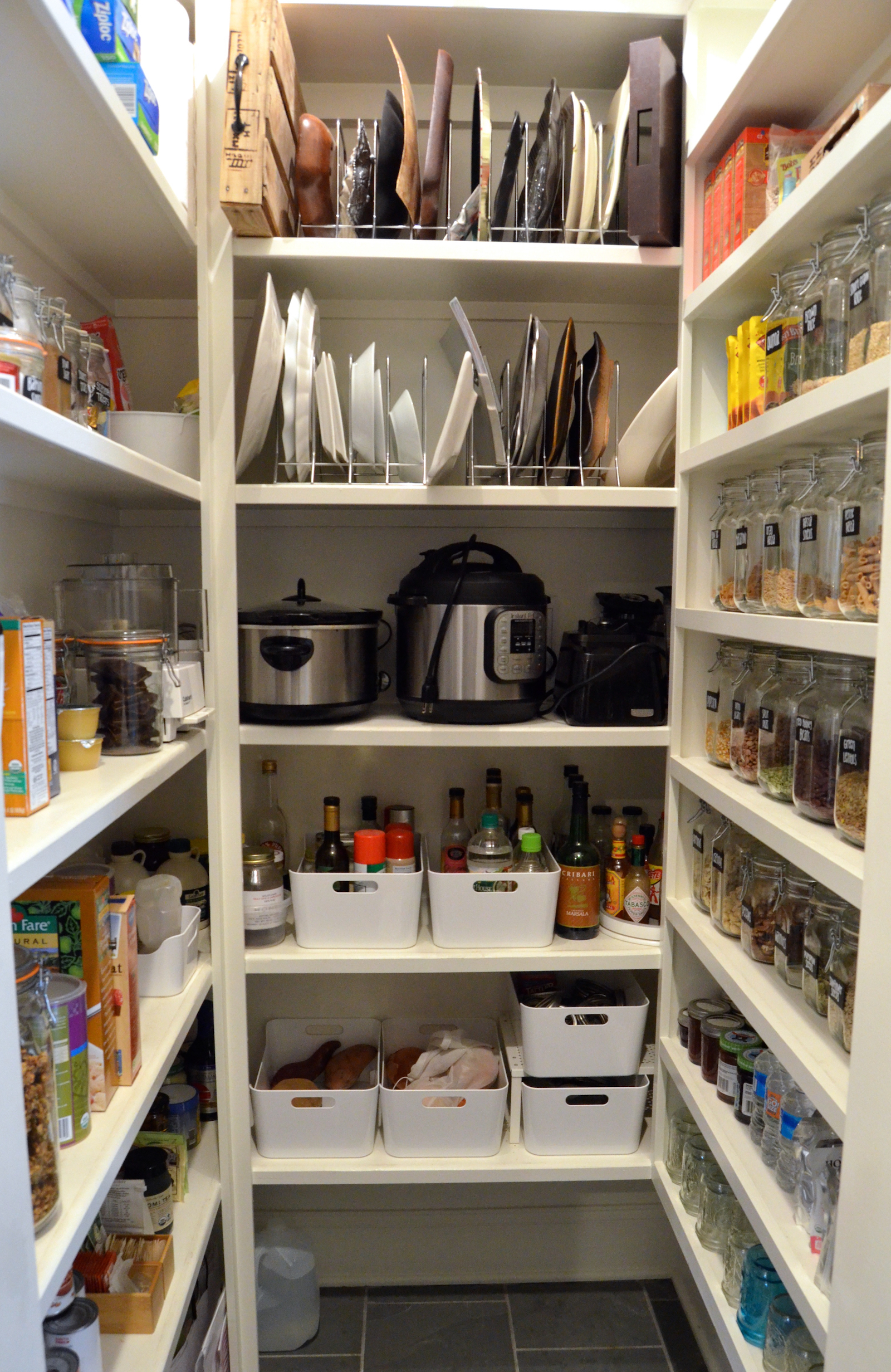 "Big Pantry Redo ""after"" bins and racks on 100 Days of Real Food"