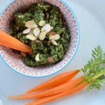 Carrot Top Almond Pesto on 100 Days of Real Food