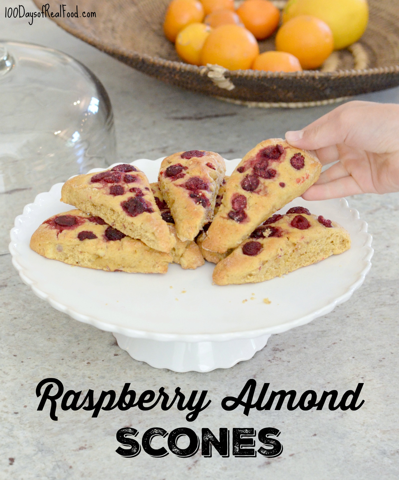 Whole-Grain Raspberry Almond Scones on 100 Days of Real Food