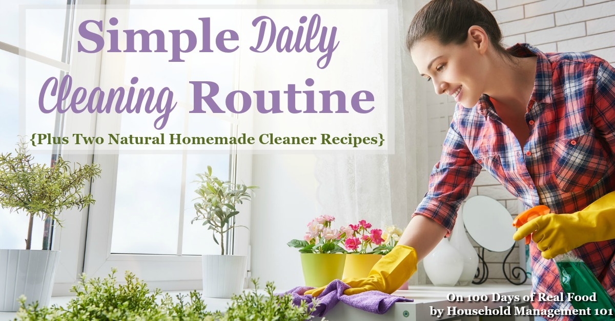 Simple Daily Cleaning Routine and Natural Homemade Cleaner Recipes on 100 Days of Real Food