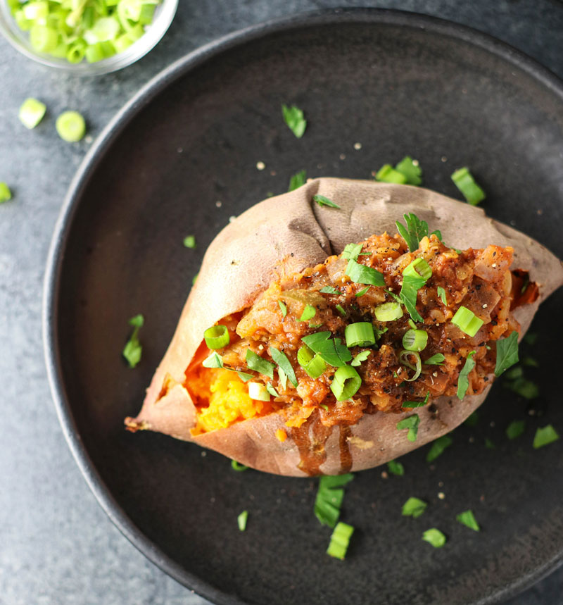 Lentil Sloppy Joe Stuffed Sweet Potatoes (+ how to save money while eating well) on 100 Days of Real Food