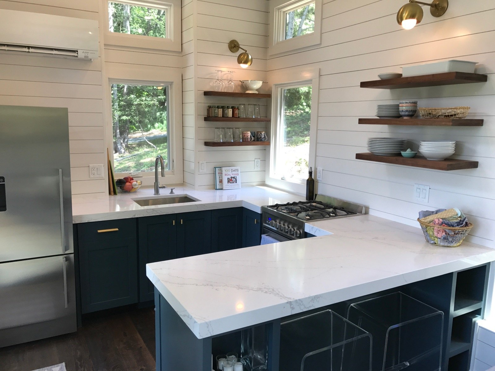 What 39 s in our new tiny house kitchen 100 days of real food for Small house kitchen designs