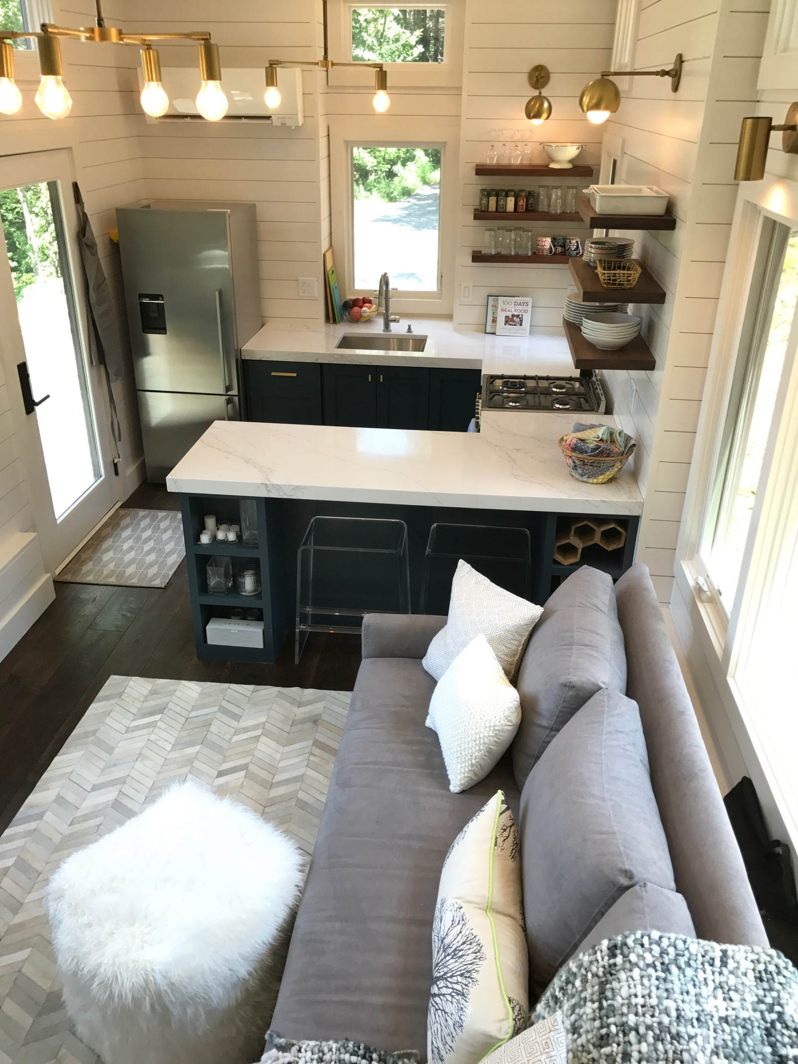 What 39 s in our new tiny house kitchen 100 days of real food for Small house kitchen interior design
