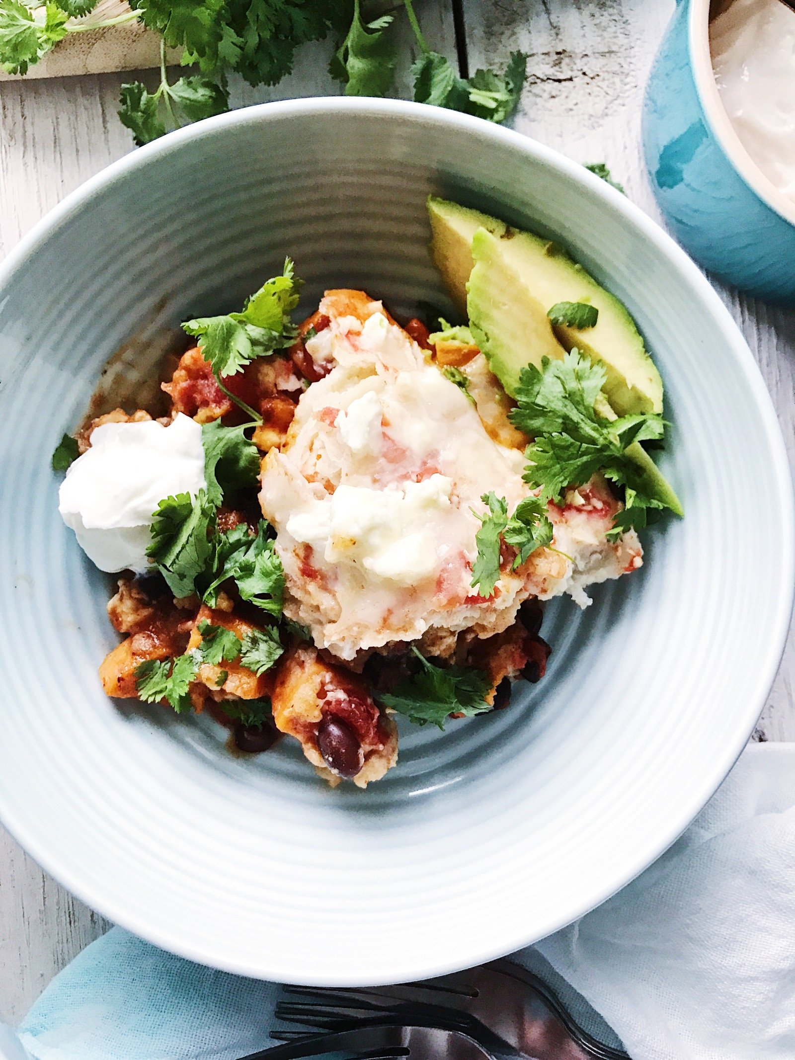 Bowl of Slow Cooker Enchiladas on 100 Days of Real Food