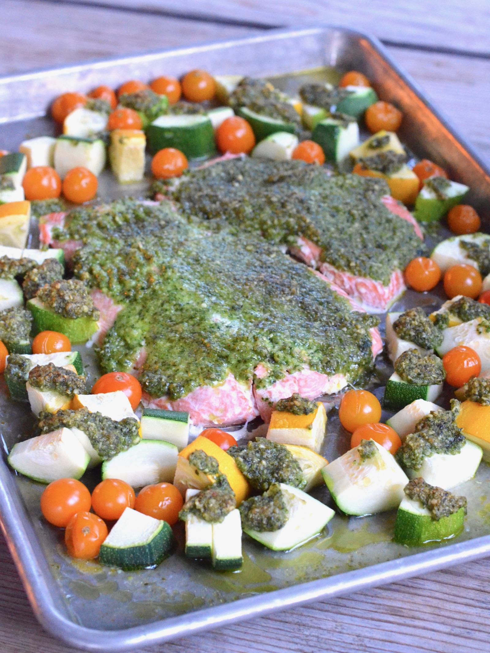 Pesto Salmon Sheet Pan Dinner on 100 Days of Real Food