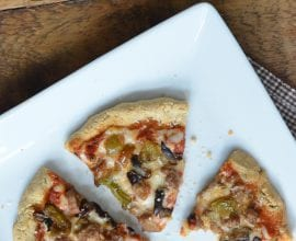 Sausage, Bell Pepper and Mushroom Pizza on 100 Days of Real Food