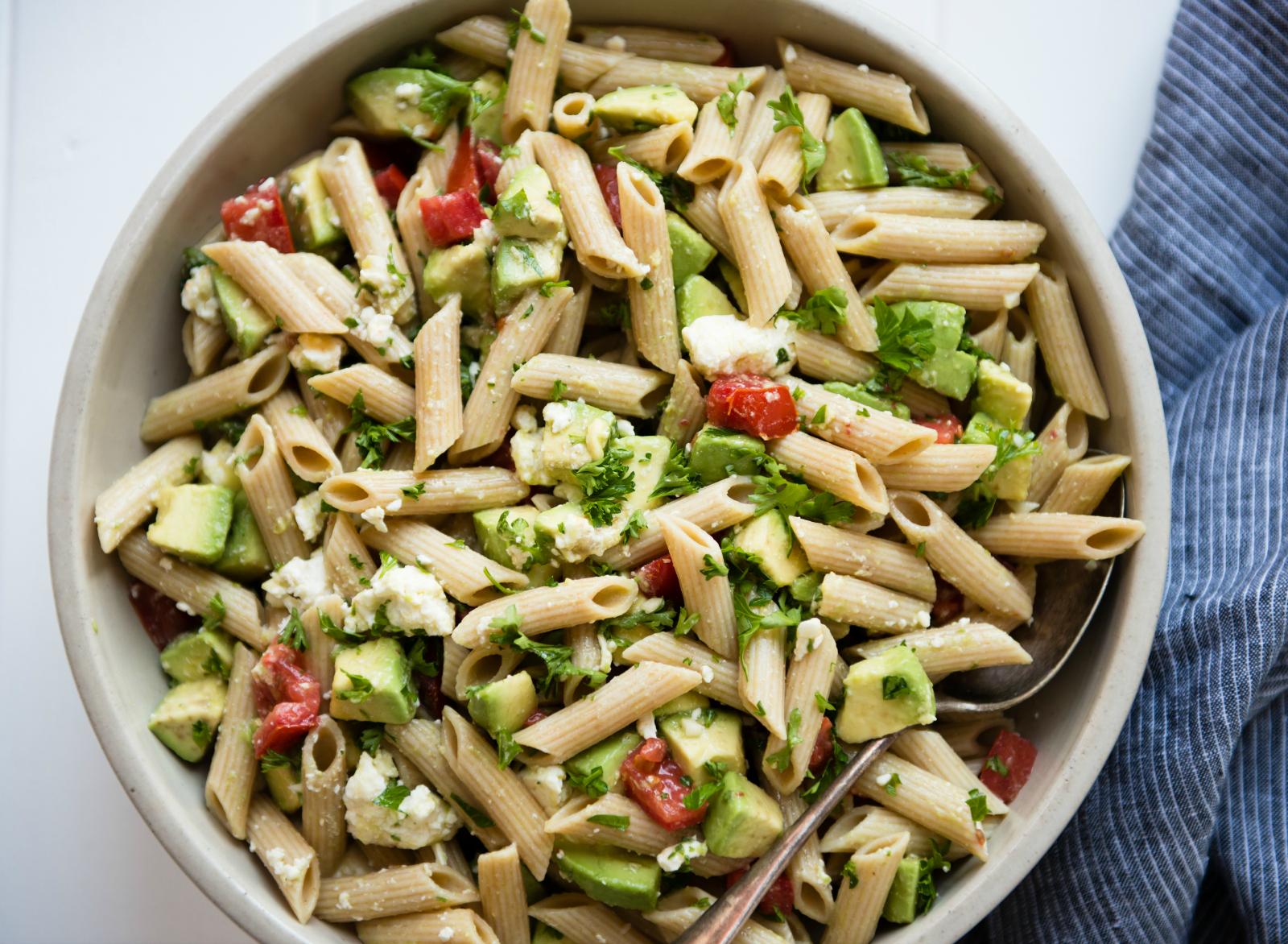 Leftover pasta salad in bowl